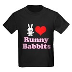 I Love Runny Babbits Kids Dark T-Shirt
