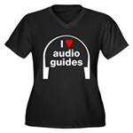 I Love Audio Guides Women's Plus Size V-Neck Dark T-Shirt