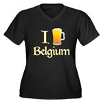 I Love Belgium (Beer) Women's Plus Size V-Neck Dark T-Shirt