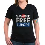 Smoke Free Europe Women's V-Neck Dark T-Shirt