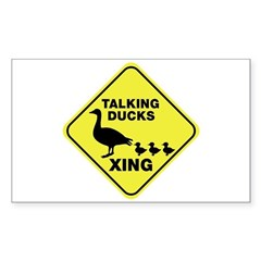 Talking Ducks Crossing Sticker (Rectangle)