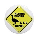 Talking Ducks Crossing Ornament (Round)