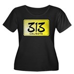 313 License Plate Women's Plus Size Scoop Neck Dark T-Shirt