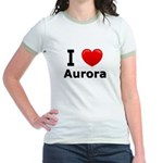 I Love Aurora Jr. Ringer T-Shirt