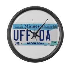 Uffda License Plate Shop Large Wall Clock