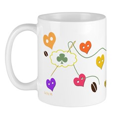 mug, colors, hearts buttons, fun, valentine, mother's day, coeurs, t-shirt, Lore M