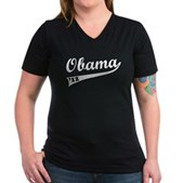Obama 2012 Swish Women's V-Neck Dark T-Shirt