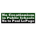 No Creationism and Paul LePage Bumper sticker