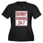 Bunny Parking Women's Plus Size V-Neck Dark T-Shirt