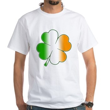 Irish Flag Shamrock White T-Shirt