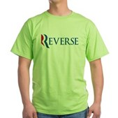 Anti-Romney Reverse Green T-Shirt