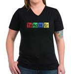 Teacher made of Elements colors Women's V-Neck Dark T-Shirt