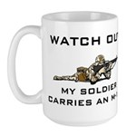 MY SOLDIER CARRIES AN M-16 Large Mug