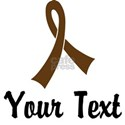 Personalized Brown Ribbon Awareness White T-Shirt