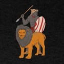 African Warrior Spear Hunting With Lion Drawing T-