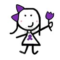 Girl & Purple Ribbon White T-Shirt