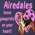 Airedales Pawprints Heart Long Sleeve Dark T-Shirt