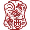 Chinese Zodiac Rooster Papercut White T-Shirt