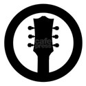 Guitar Headstock Black Rubber Stamp Icon T-Shirt
