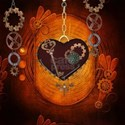 Steampunk, heart with gears, dragonfly and clocks