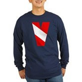 Scuba Flag Letter V Long Sleeve Dark T-Shirt