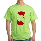 Scuba Flag Letter S Green T-Shirt