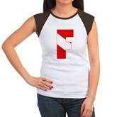 Scuba Flag Letter F Women's Cap Sleeve T-Shirt