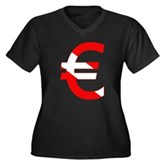 Scuba Flag Euro Sign Women's Plus Size V-Neck Dark