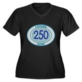 250 Logged Dives Women's Plus Size V-Neck Dark T-S