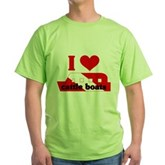I Love Cattle Boats Green T-Shirt