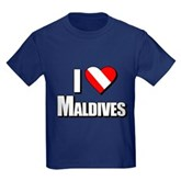 Scuba: I Love Maldives Kids Dark T-Shirt