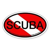 Scuba Oval Dive Flag Oval Sticker
