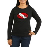 Scuba Oval Dive Flag Women's Long Sleeve Dark T-Sh