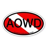 AOWD Oval Dive Flag Oval Sticker