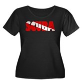Scuba Text Flag Women's Plus Size Scoop Neck Dark