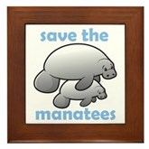 Save the Manatees Framed Tile